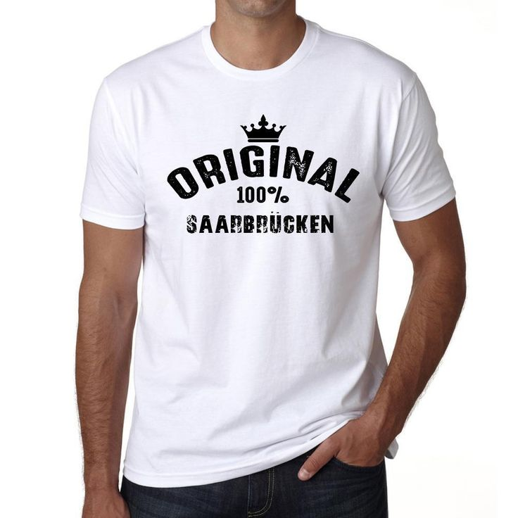saarbrücken, 100% German city white, Men's Short Sleeve Rounded Neck T-shirt