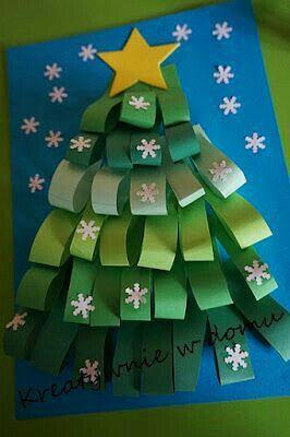 Biglietto di Natale...albero con striscioline di cartoncino verde!