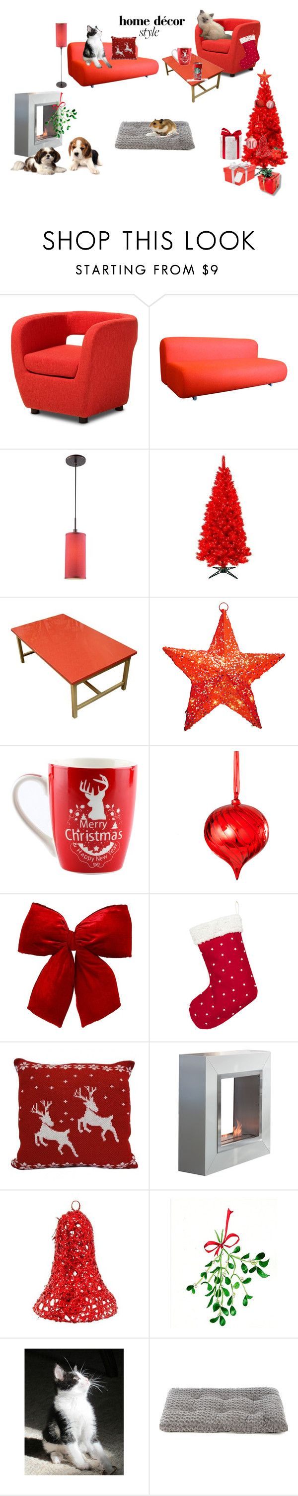 """""""Cute Red Christmas Room Decor."""" by neyahd on Polyvore featuring interior, interiors, interior design, home, home decor, interior decorating, Baxton Studio, Knoll, Woodbridge Lighting and General Foam"""