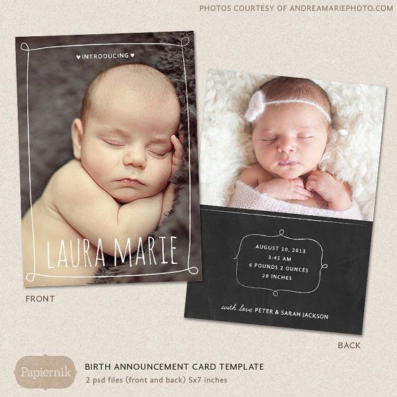 60 best Announcement Cards images – Birth Announcement Photoshop Template