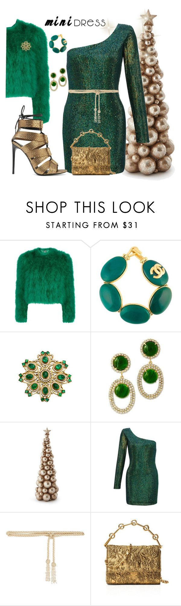"""""""Holiday mini mini dress"""" by ellenfischerbeauty ❤ liked on Polyvore featuring Alexander McQueen, Chanel, Kenneth Jay Lane, Ariella, Valentino, Michael Kors and Tom Ford"""