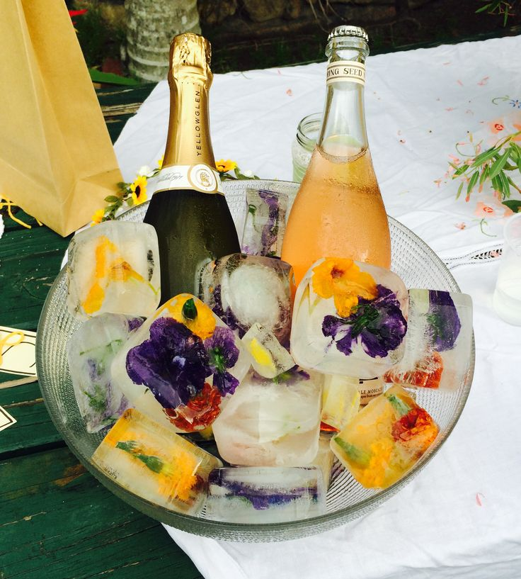 Edible flowers frozen in water for chilling champaign or water jugs.