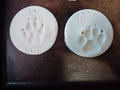 Paw print salt dough ornaments (1/2 cup salt, 1 cup flower, 1/2 cup water added slowly)