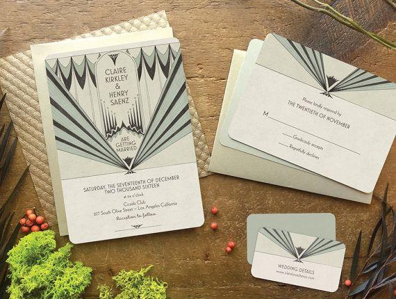 Art Deco Wedding Invitation Wedding Invitation Wedding by GoGoSnap