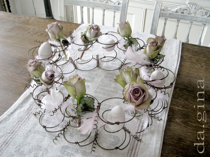 Old Mattress Springs as Center Piece, Flower Holder, Easter Egg Holder. White, Grey, Black, Chippy, Shabby Chic, Whitewashed, Cottage, French Country, Rustic, German  decor Idea. ***Pinned by oldattic ***.