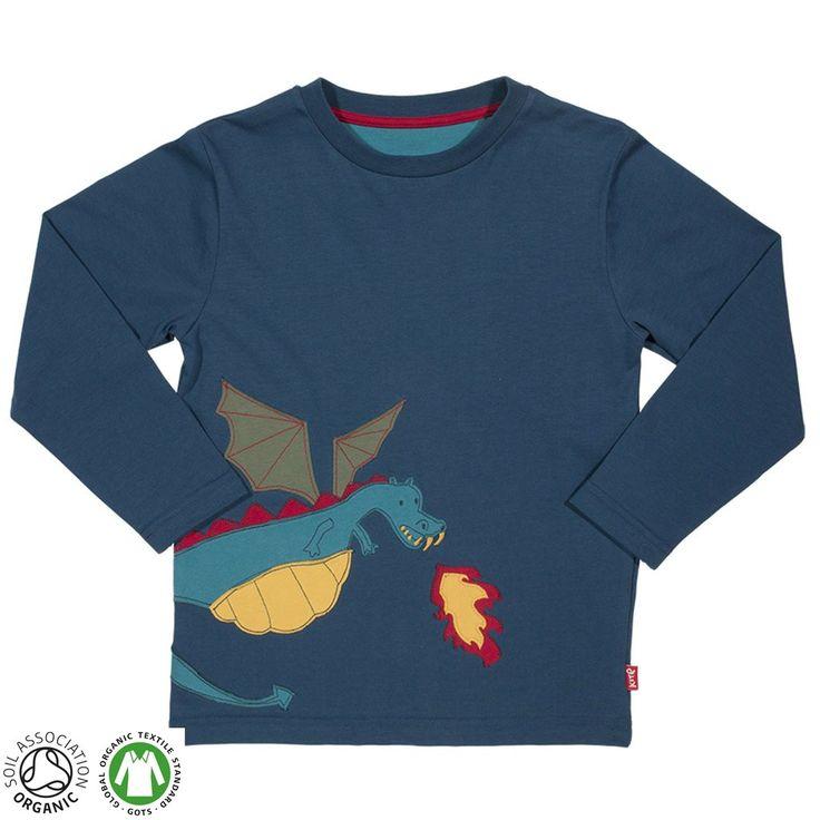 Super sweat-shirt avec un dragon crachant du feu en aplique. Fabriqué en coton biologique, en plus d'être beau il est très agréable à porter!