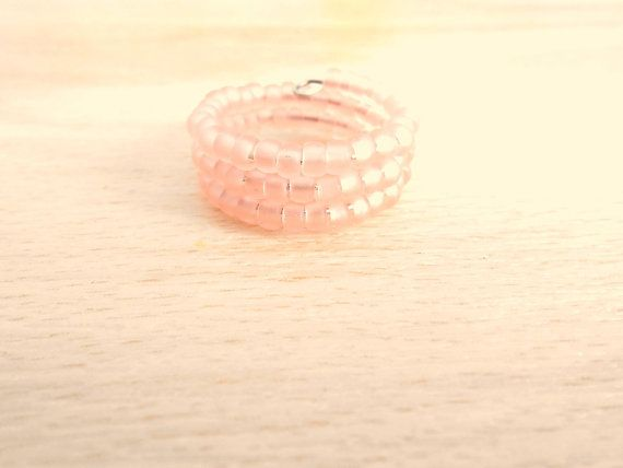 Matte Rosaline Seed Bead Ring  Memory Wire Ring  by SkadiJewelry