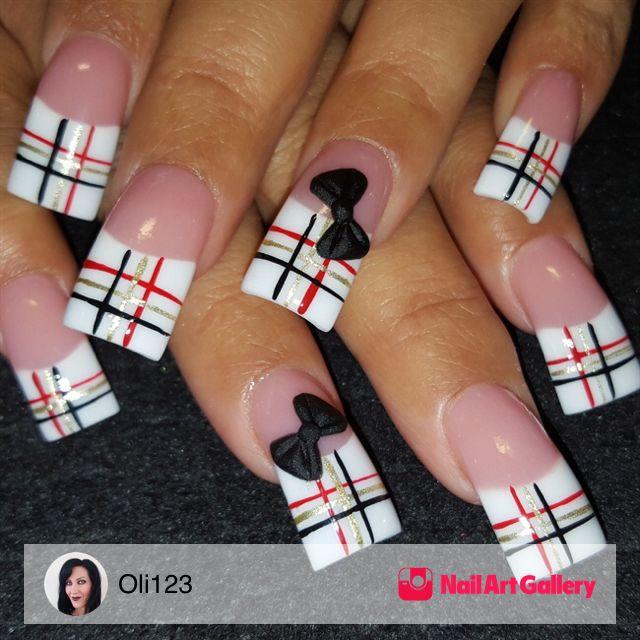 Plaid With 3D Bows by Oli123 via Nail Art Gallery #nailartgallery #nailart #nails #handpainted