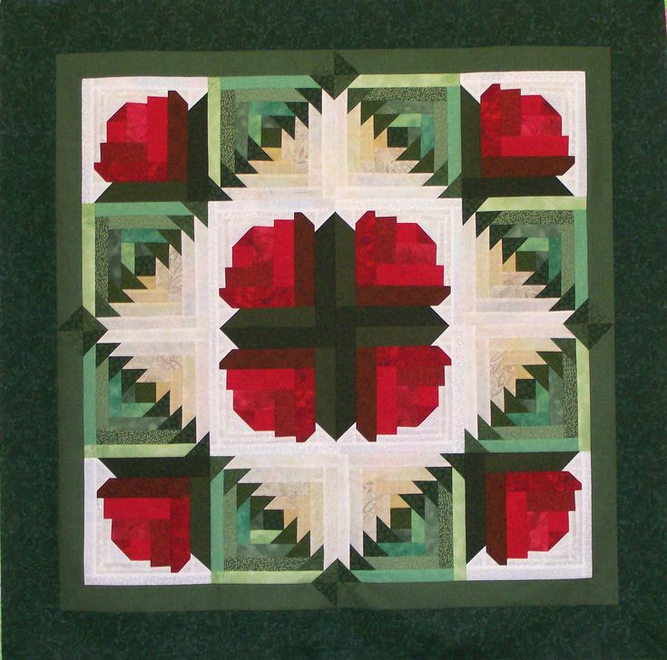roses make out of log cabin patterns - Google Search