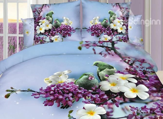 Beautiful Bird Standing On Floral Branch 3D Duvet Cover Sets - beddinginn.com