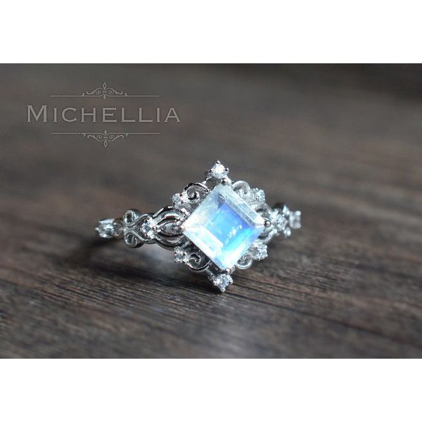 "14K/18K ""Elsa"" Square Moonstone Ring, White Gold Moonstone Engagement... ($880) ❤ liked on Polyvore featuring jewelry, rings, vintage moonstone ring, wide-band rings, princess cut engagement rings, victorian engagement rings and 18k white gold ring"
