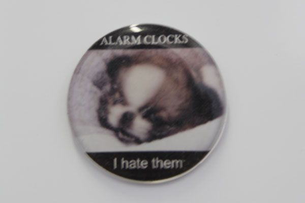 Alarm clocks I hate them domed fridge magnet
