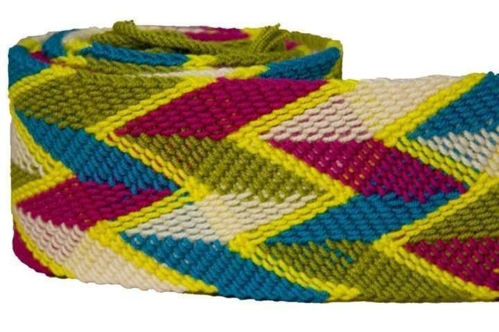 Fair Trade Wayuu Belt Colombia - Wayuu belt from Colombia. Wear tied or with a lace through a buckle. (Buckle not included.) Weaving is a symbol of wisdom and creativity among Wayuu women. Find the belt that expresses your individuality with a unique color palette and combination of geometric patterns.