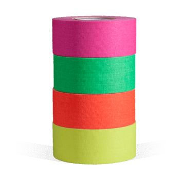 """The microGaffer GT-4567 Gaff Tape 4-Roll MultiPack - Fluorescent Colors 1"""" x 8 yards is the same professional gaffer tape you've counted on for countless jobs, now in a smaller form factor. It tears off easily and leaves almost no residue, just like gaffer's tape (because that's what it is.) This microGaffer tape measures 1"""" wide, the roll is 8 yards long and only weighs 2.2oz. This Fluorescent 4 Roll Multi Pack includes 1 roll of pink, 1 roll of orange, 1 roll of green and 1 roll of yellow…"""