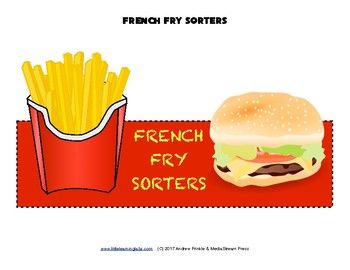 Use these fun french fry fast food pages to create any number of bulletin boards, centers activities, or sorting games!Print as many blank french fry boxes and french fries as you want. Stuff your french fries in as you sort!But what sort of things would you sort???These are just a few suggestions for using this set.