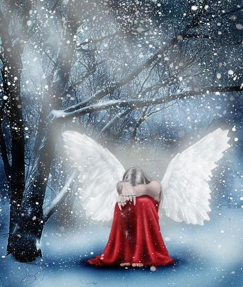 red snow angel
