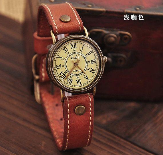 Coffee Leather Women Wrist Watch - Men Watch - Women Leather Watch - Vintage Style With Roman numerals- Cute Women's watch