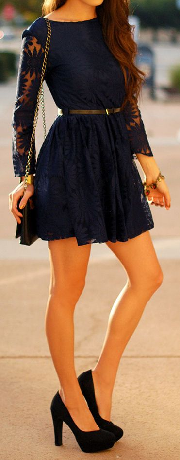 Navy Floral Lace Dress <3