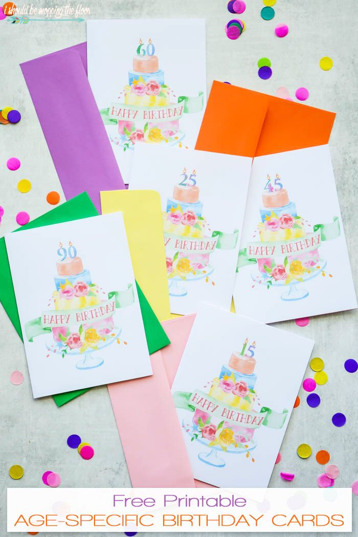 Download These Watercolor Free Printable Birthday Cards To Have On Hand In A Pinch Theyre Beautiful AND Ages 10 100 Candles Increments Of Five