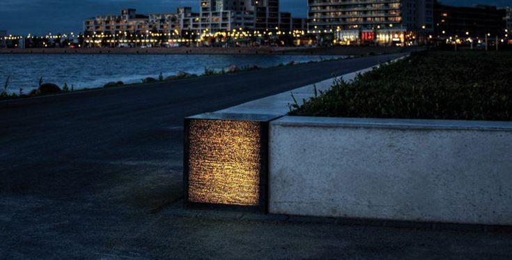 Lichtbeton in Rotterdam Hafen als optisches Highlight in den Betonmauer, die gleichzeitig als Sitzbank dient.