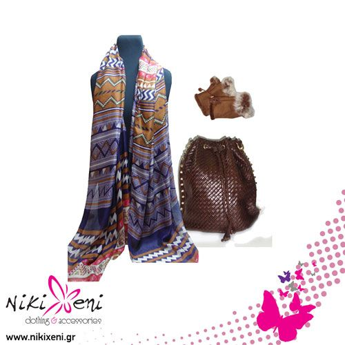 backpack of crossed leatherette, long scarf with geometrical pattern, artificial fur gloves _fashion woman accessories.