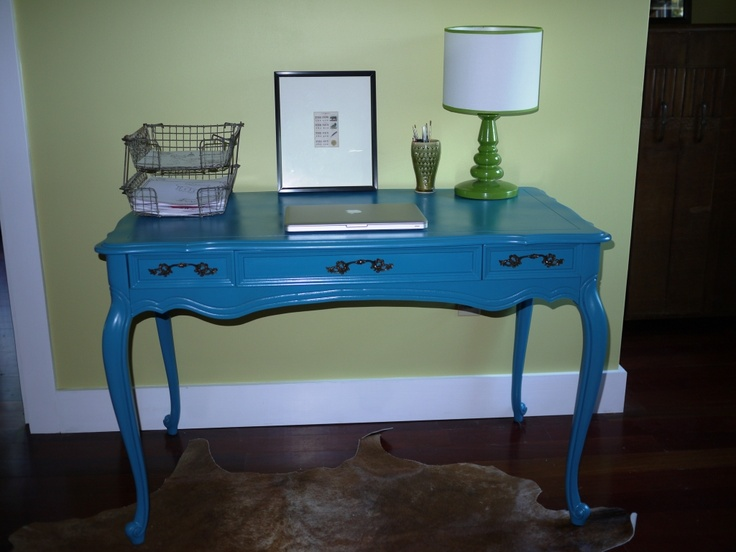 Probably going to get an old desk like this....wonder what color to paint it...I'm thinking black and red, or blue...: Dining Room, Furniture Inspired To Make, Decor Ideas, Painted Furniture, Color, Daughter, Desk Ideas, Furniture Ideas, Craft Ideas