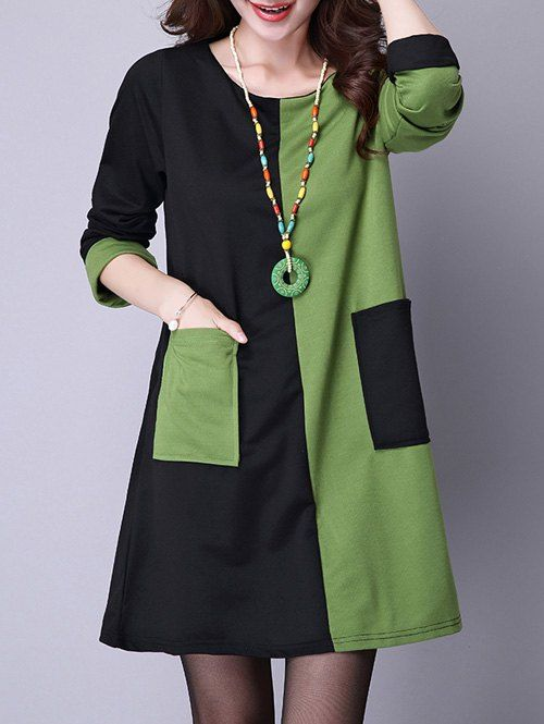 Front Pocket Color Block Long Sleeve Mini A Line Dress