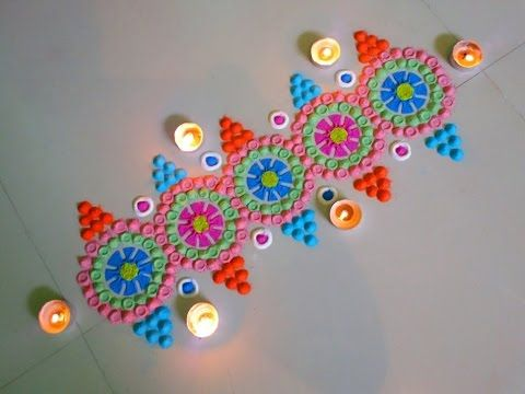 Beautiful rangoli border and rangoli design - YouTube