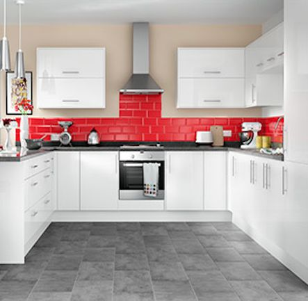 Light Ious And Uncluttered The Smooth Glossy Orlando White Kitchen Boasts Minimalism Combined With A Stylish Bar Handle This Offers