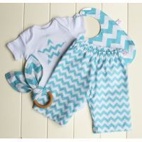 Baby Boy Gift Set Aqua Chevron $65.00 Buy it now instore at http://www.mamadoo.com.au/baby-clothes/baby-boy-clothes/baby-boy-outfits-and-sets/  #mamadoo #baby #boys #clothes #fashion #cuteas #boyswillbeboys