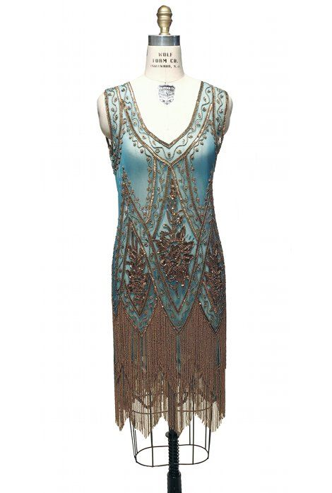 The Charleston Turquoise Gold : Beaded 1920's Style Gowns, Art Deco Gowns, 20's Flapper Fringe Dresses, Vintage Daywear, Hollywood Reproductions..... from LeLuxe Clothing