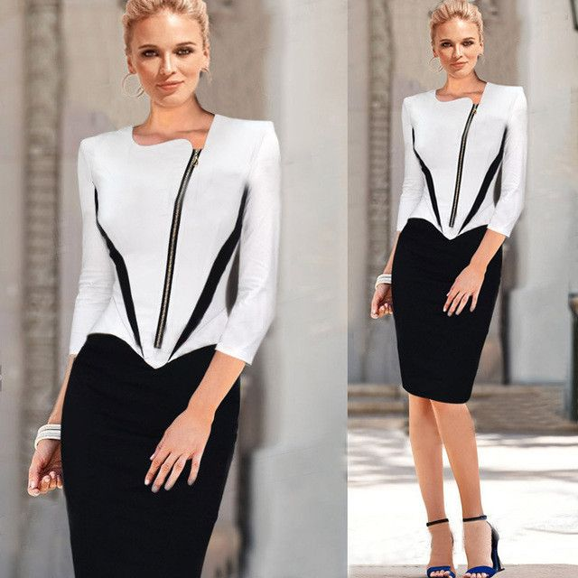2016 Ladies Elegant Long Sleeve Black and White Dress Pencil Women Formal Dresses Suit for Work Party Tunic Office Bodycon