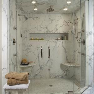 Marble Shower Design, Transitional, bathroom, Millenium Cabinetry