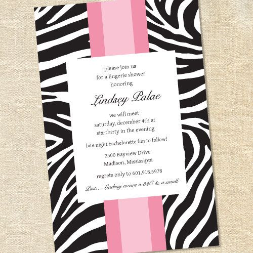 Pink Zebra Print Invitations for Bachelorette Parties & Sweet Sixteens by Sweet Wishes Stationery