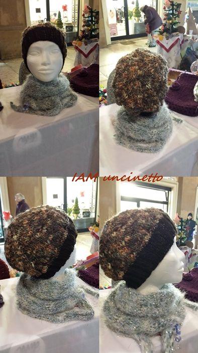 Berretto unisex in lana marrone scuro e mélange ai ferri. Fatto, fotografato al volo e venduto :D Knitted wool hat beanie. Handmade. Made & sold in a flash. No better pictures :D