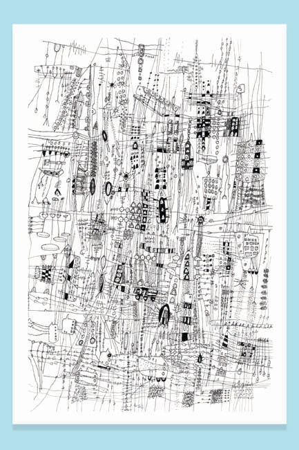 City Life City Drawing line drawing Archival by SarahGiannobile