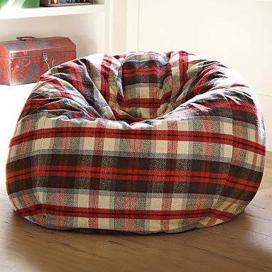 14.  Media room Lumberjack Plaid Flannel Beanbag