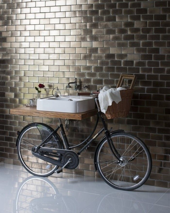 Creative Usage Of Bicycle In The Bathroom.