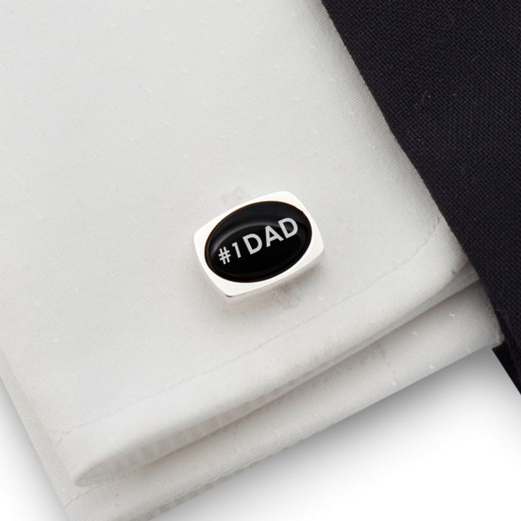 Dad cufflinks gift idea, Sterling silver Onyx Cufflinks with 1 DAD engraved on onyx. FREE engraving great for Gift Idea, Dad, Birthday Gift, Groom, Wedding or any special occasion.