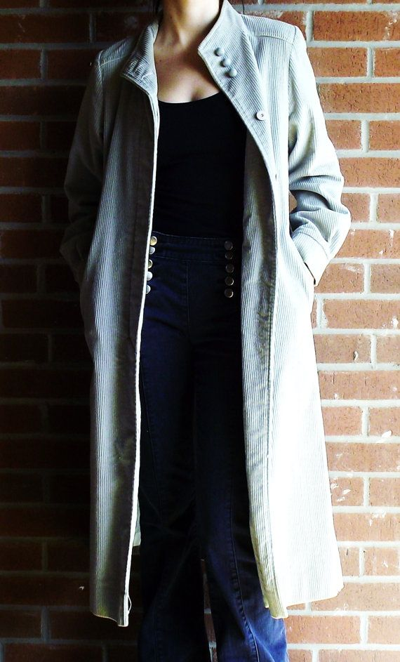 70's Corduroy Long Vintage Jacket  Grey by MaryLuVintage on Etsy, $80.00