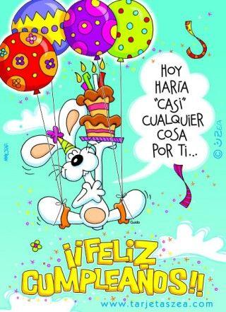 Conejo Guido volando con globos y pastel de cumpleaños © ZEA www.tarjetaszea.com