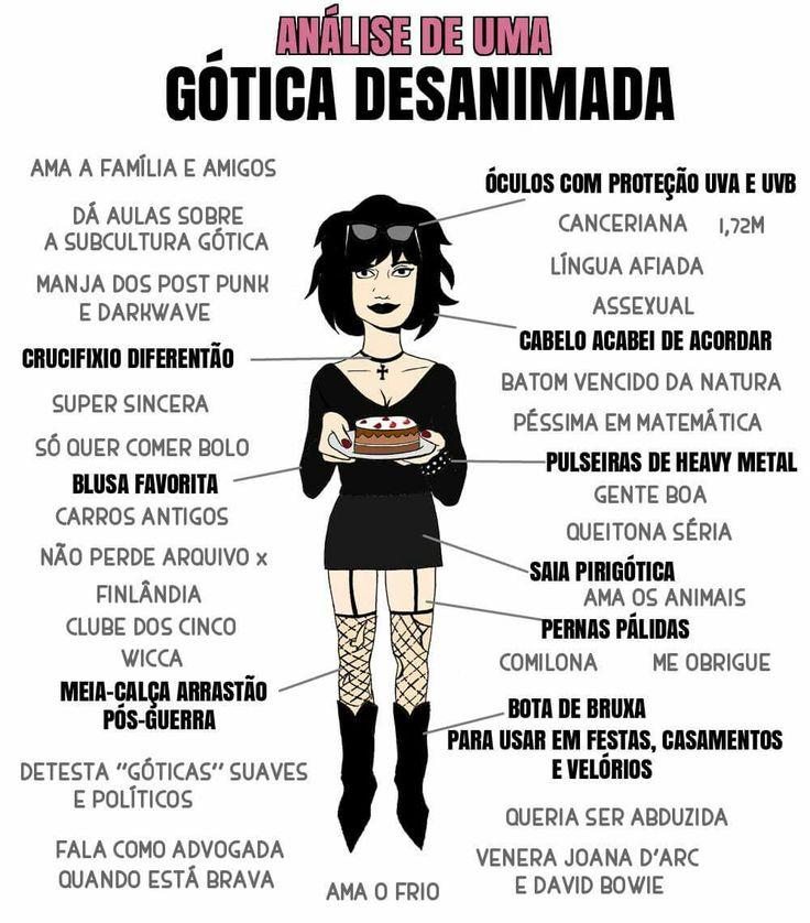 Humor gótico Como ser gótica Tirinha gótica Gótica Desanimada Garota gotica