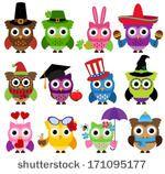 Vector Set of Cute Holiday and Seasonal Owls