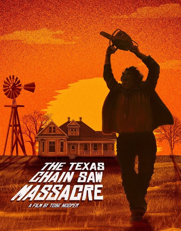 "This picture shows the release poster of the horror movie ""The Texas Chainsaw Massacre"". It is my favorite movie."