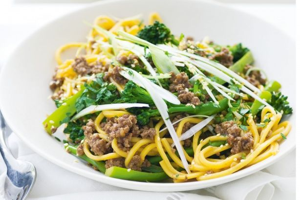 Beef and broccolini noodle stir-fry