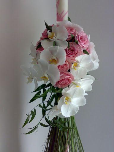 lumanarica botez cu trandafiri si orhidee phalaenopsis