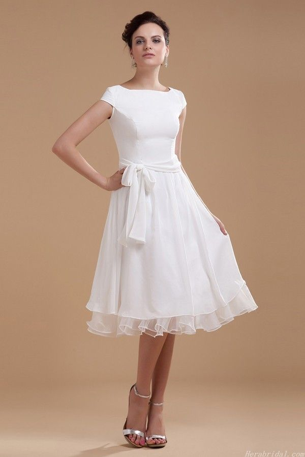 Short Sleeve Knee Length Taffeta Wedding Dress With Waistband