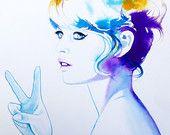 Mode Illustration 60er Jahre Friedenszeichen Original Aquarell Malerei Portrait 1960er Jahre Vintage-Stil-Ikone blau Kunst