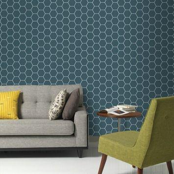 Graham & Brown vliesbehang 101671 blauwe kleurlijn honingraad blauw 10 meter | Behang | Behang | GAMMA