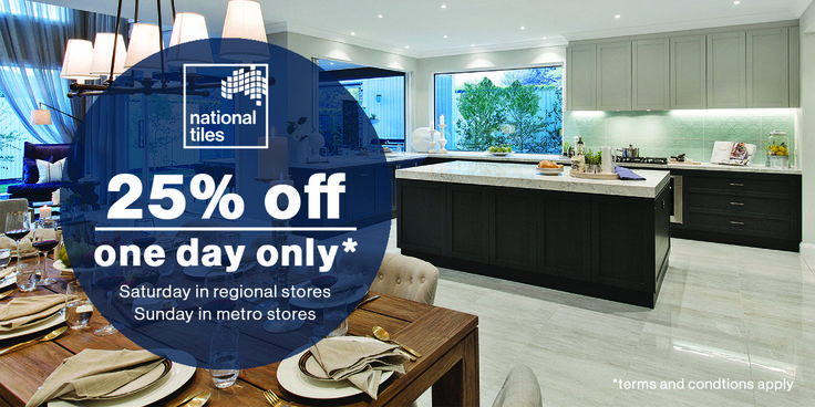 One Day only we're taking 25% off in store and online this weekend!Saturday in franchise storesSunday in metro stores   #sale #nationaltiles
